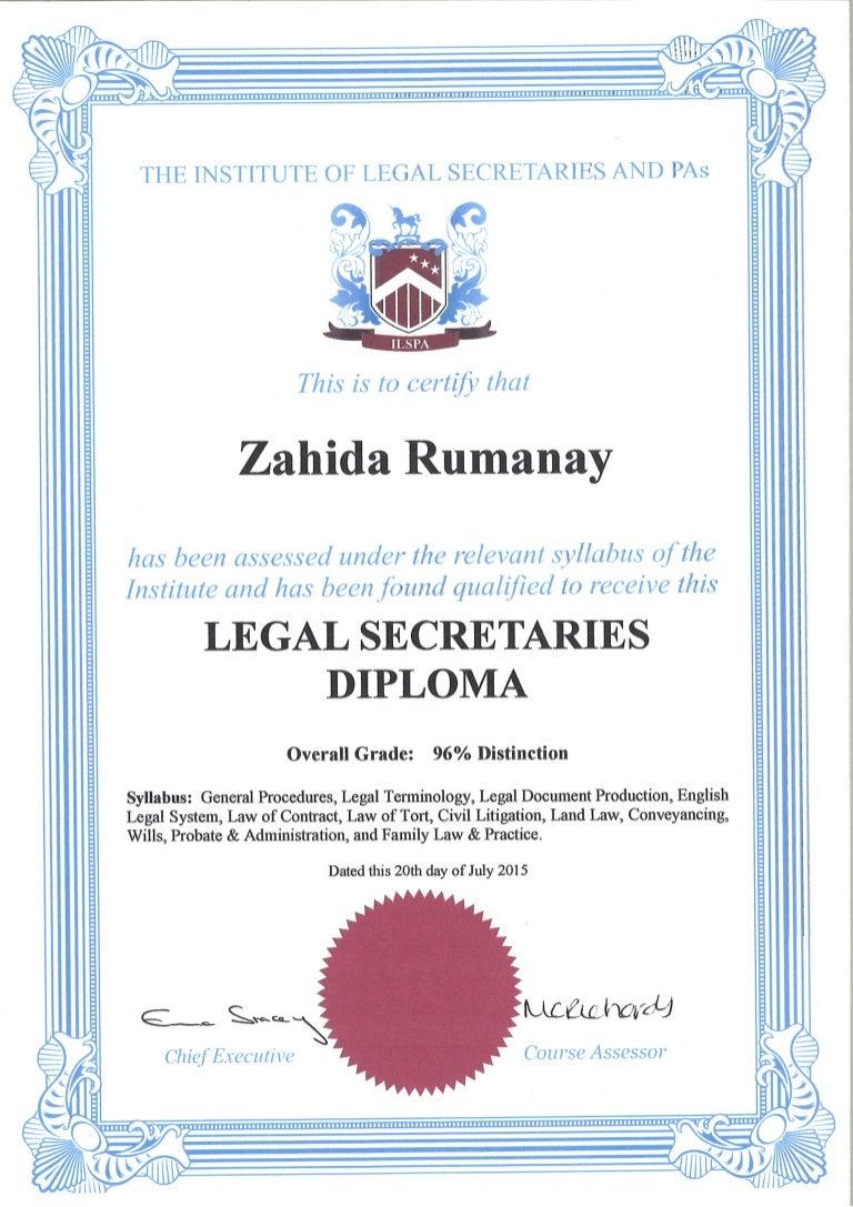 Legal Secretaries Diploma Certificate July 2015