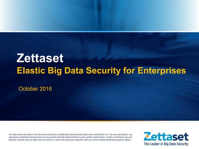 Zettaset Elastic Big Data Security for Greenplum Database