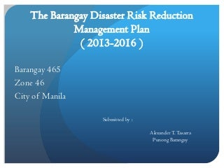 The Barangay Disaster Risk Reduction Management Plan
