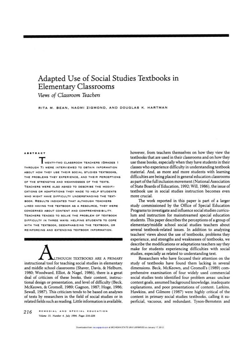 Workbooks scott foresman social studies workbook answers 5th grade : Bean zigmond Hartman-1994-Adapted Use of Social Studies Textbooks
