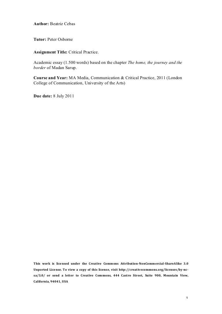 critical practice academic essay
