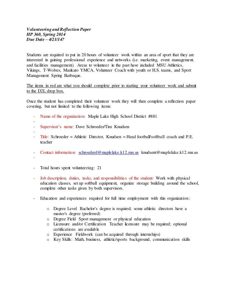 422 HP360 Volunteering Reflection Paper – Athletic Director Job Description