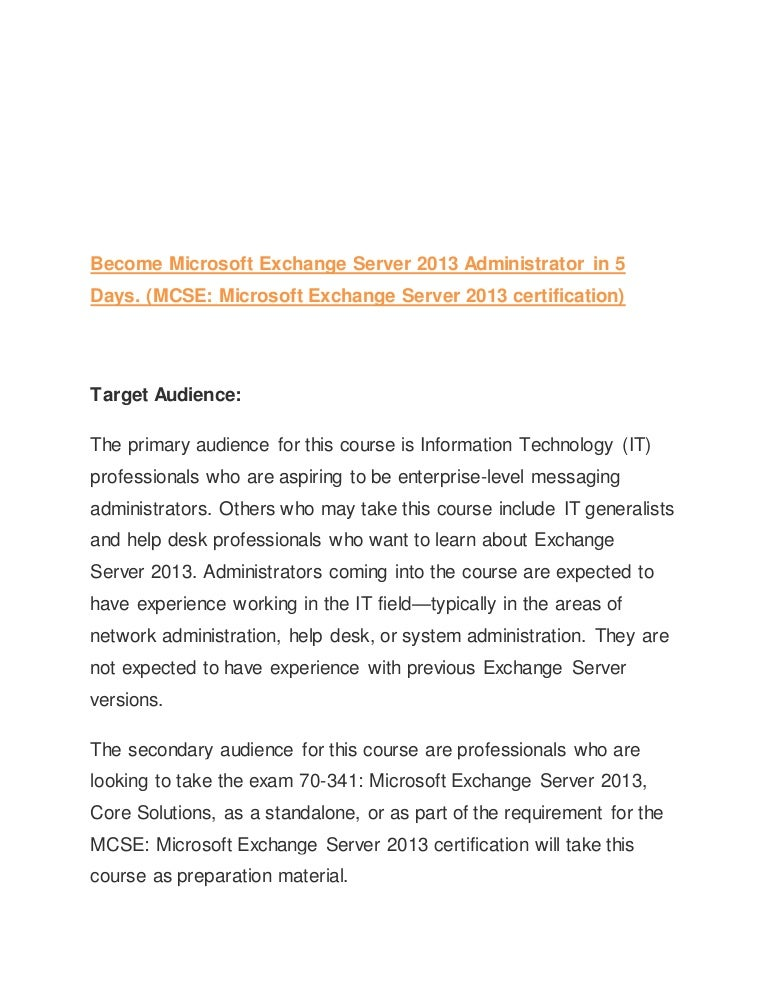 Become Microsoft Exchange Server 2013 Administrator In 5 Days