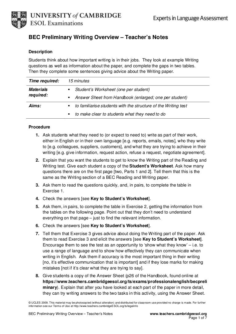 Bec p writingoverview – Language Handbook Worksheets Answer Key Online