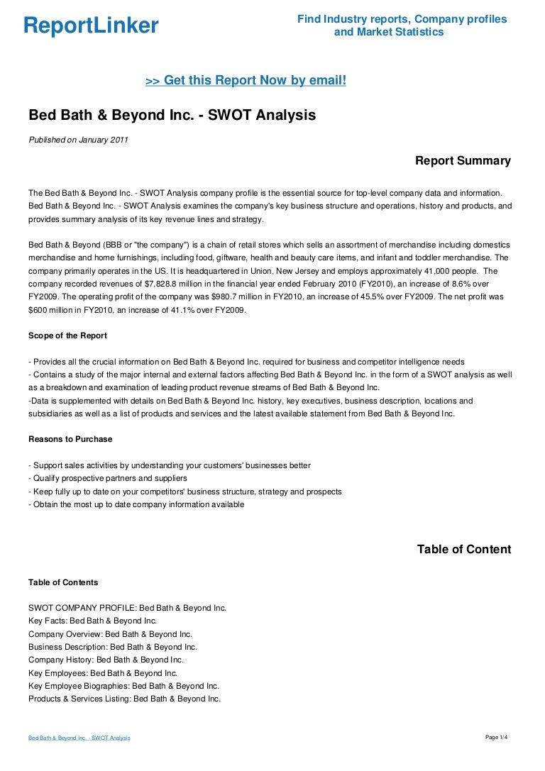 Bed Bath & Beyond Inc. - SWOT Analysis