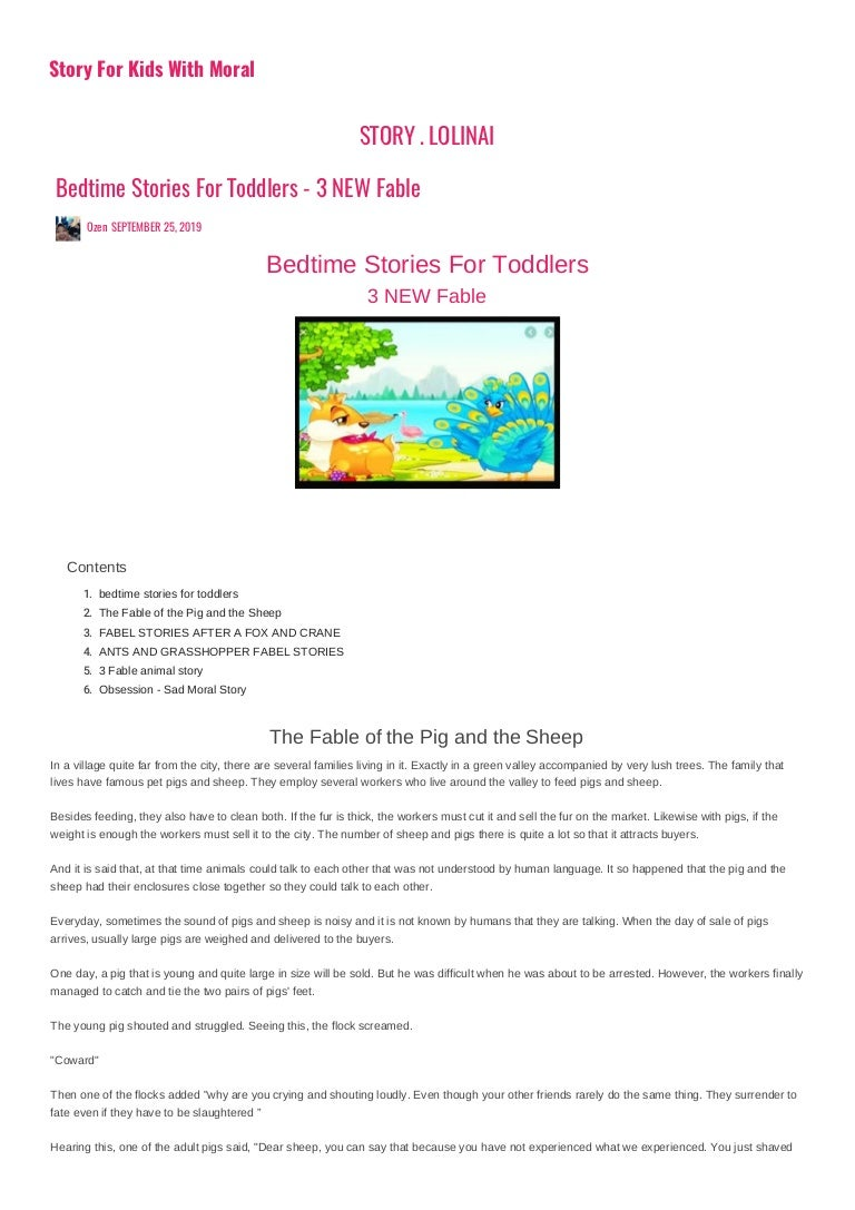 A List Of Fables And Their Morals bedtime stories for toddlers - 3 new fable story