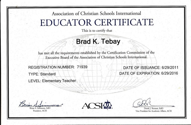 acsi certificate certification christian documents save master