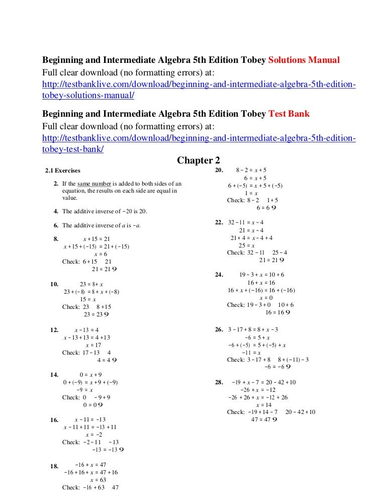 Beginning and intermediate algebra 5th edition tobey solutions manual fandeluxe Images