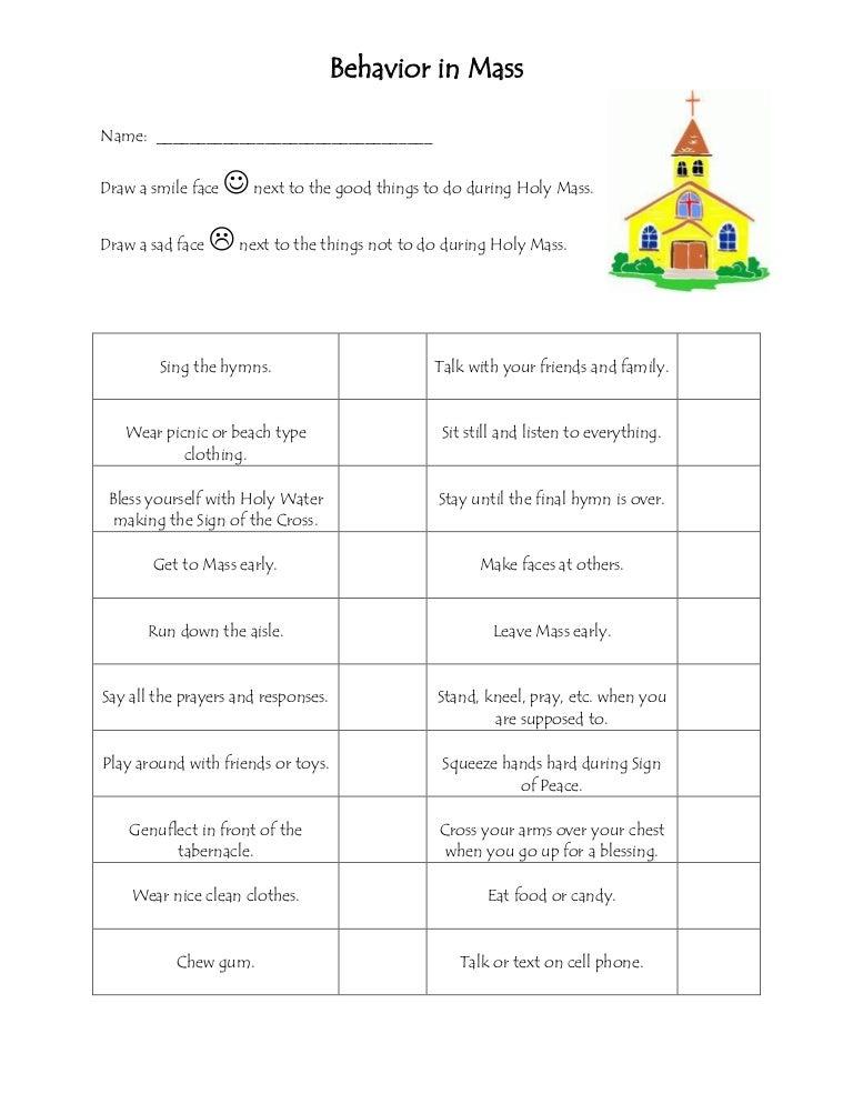Behavior In Mass Worksheet