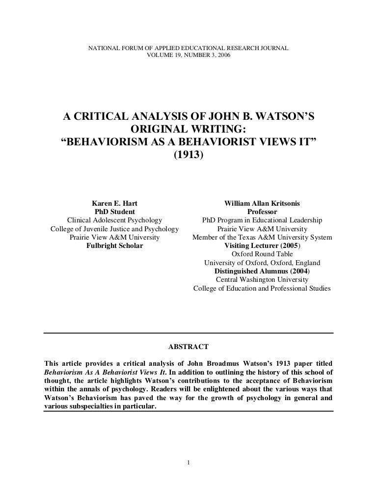 behaviorism journal articles