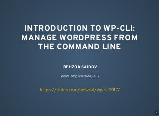 Introduction to WP-CLI: Manage WordPress from the command line
