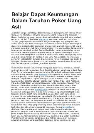 Belajar dapat keuntungan dalam taruhan poker uang asli