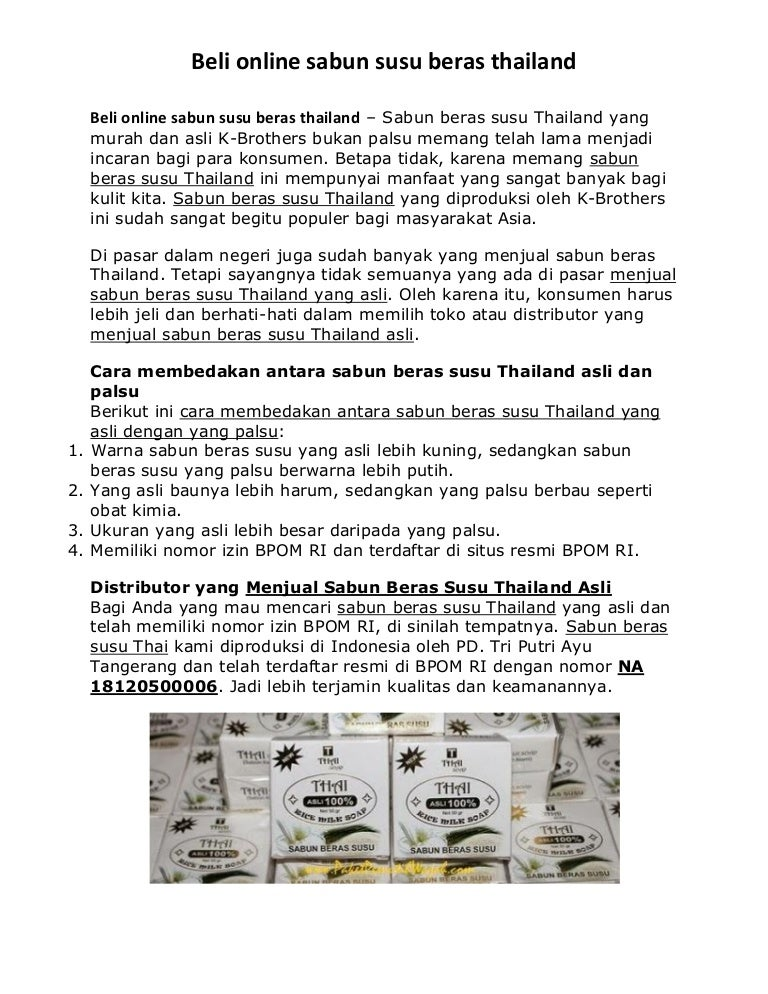 Beli Online Sabun Susu Beras Thailand