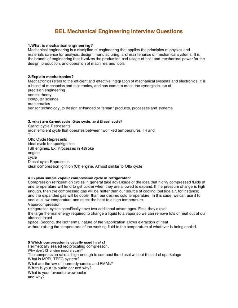 Bel mechanical engineering interview questions