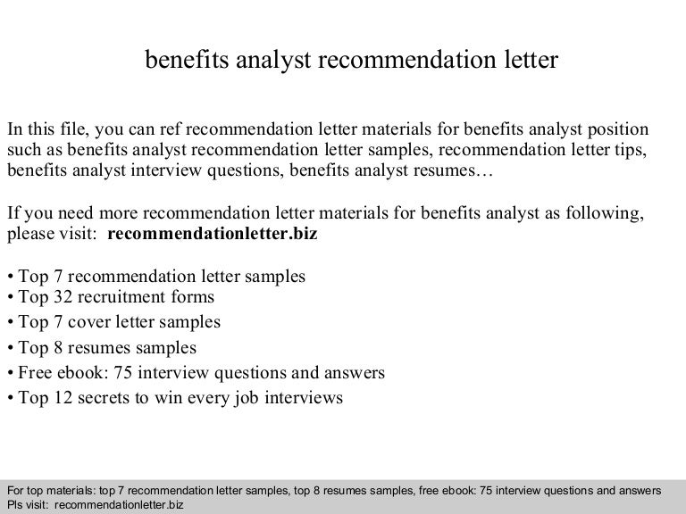 Benefits analyst recommendation letter