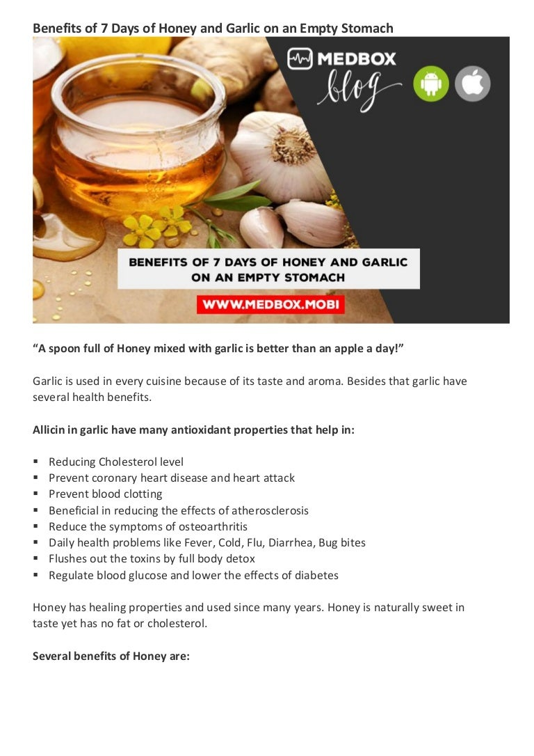 benefits of 7 days of honey and garlic on an empty stomach