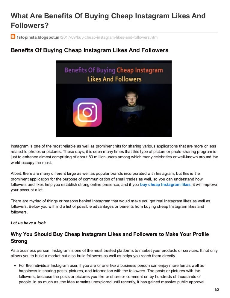 Benefits Of Buying Cheap Instagram Likes And Followers