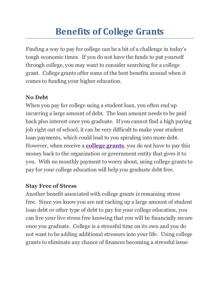 Grants For College >> Benefits Of College Grants