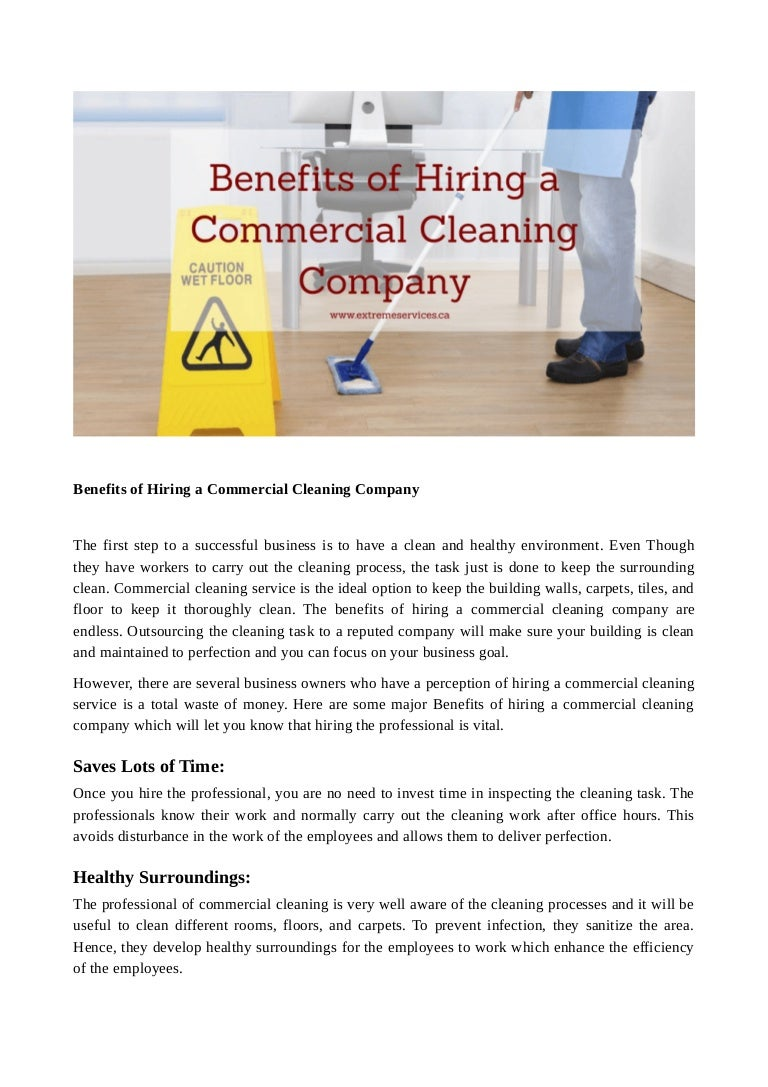 Benefits of hiring a commercial cleaning company