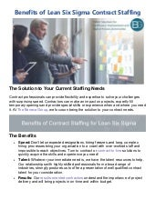 Benefits of lean six sigma contract staffing