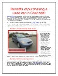 Benefits of purchasing a used car in Charlotte!