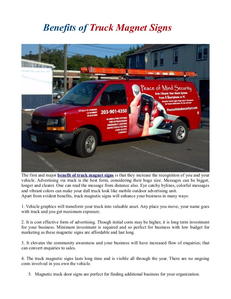 Benefits Of Truck Magnet Signs