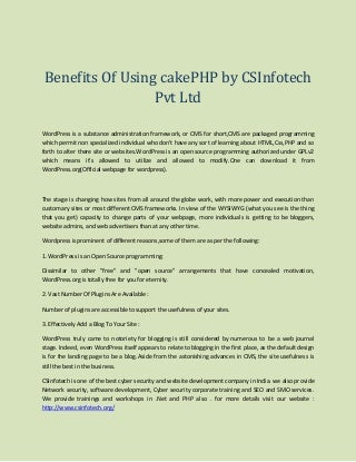 Benefits of using cake php by csinfotech (csi) pvt ltd