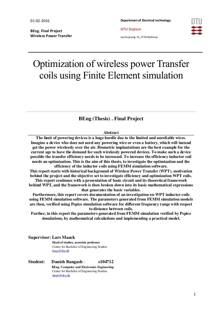 Bachelor Thesis Optimization Of Wireless Power Transfer Coils Using Pocer Transper