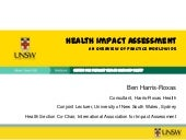 Health Impact Assessment: An overview of practice worldwide