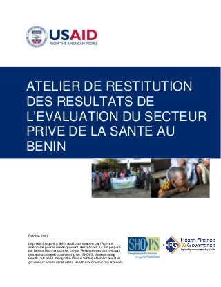 Atelier de Restitution des Resultats de l'Evaluation du Secteur Prive de la Sante au Benin