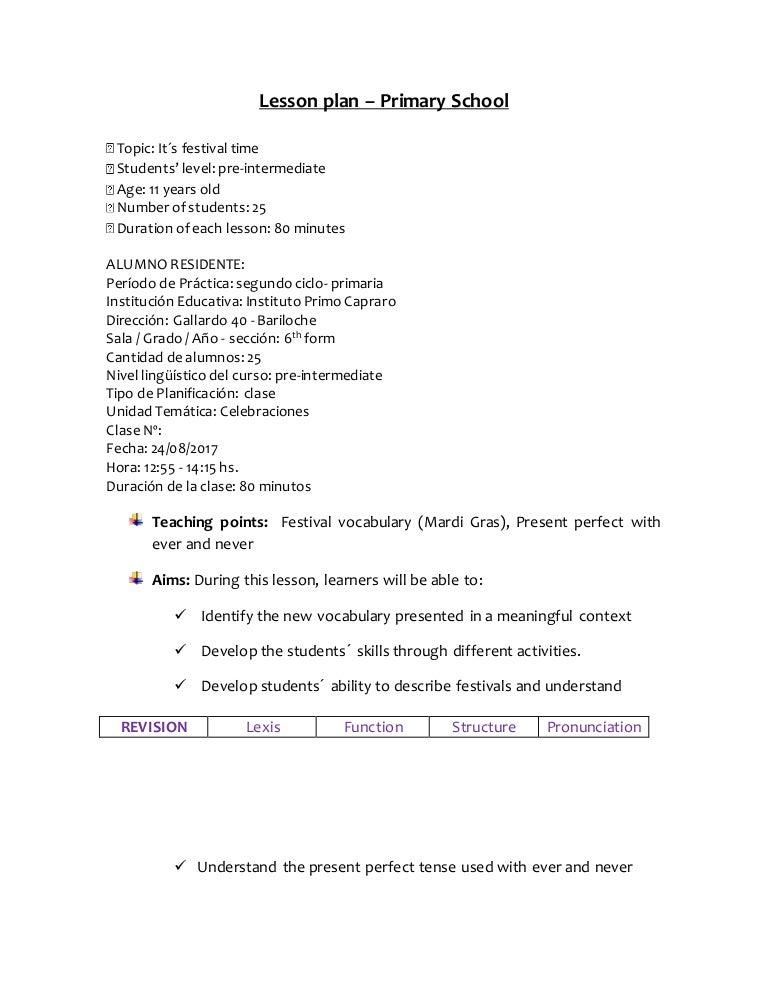Lesson Plan Primary School. Class 2