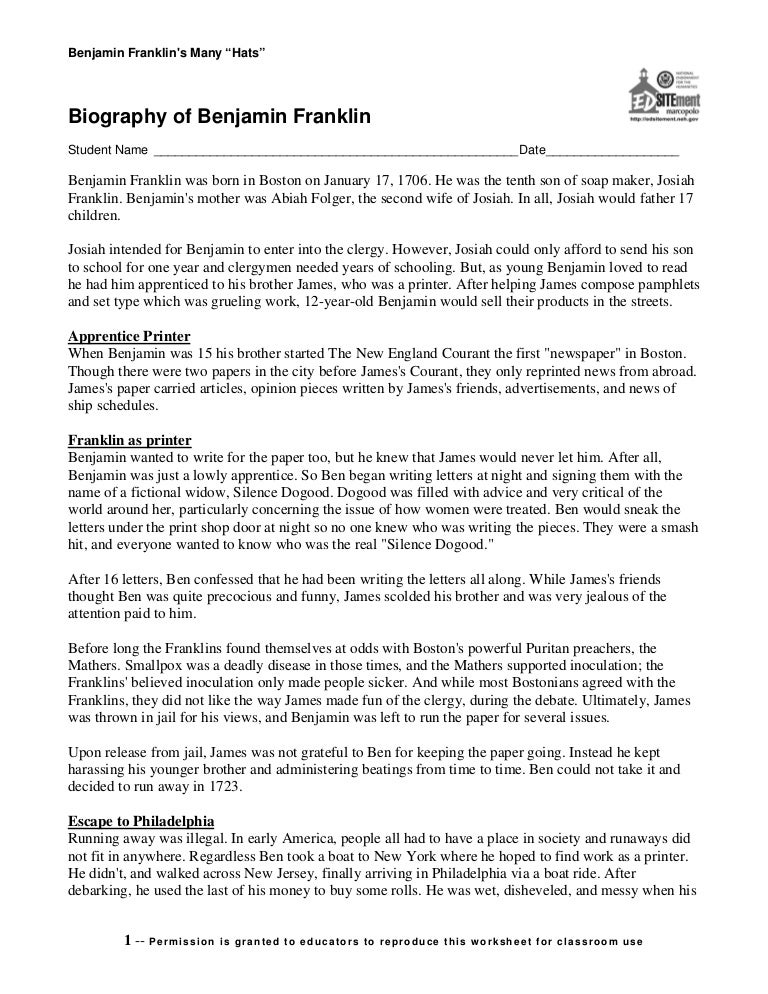 Benjamin franklins Biography – Benjamin Franklin Worksheets