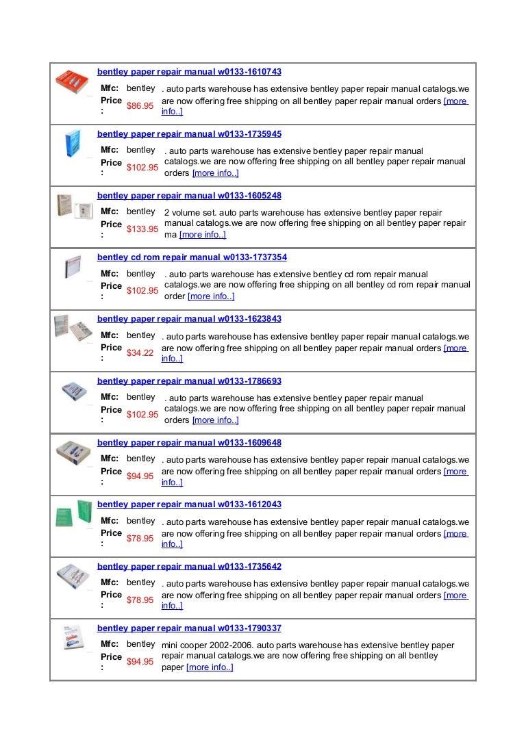 bentley auto repair manuals