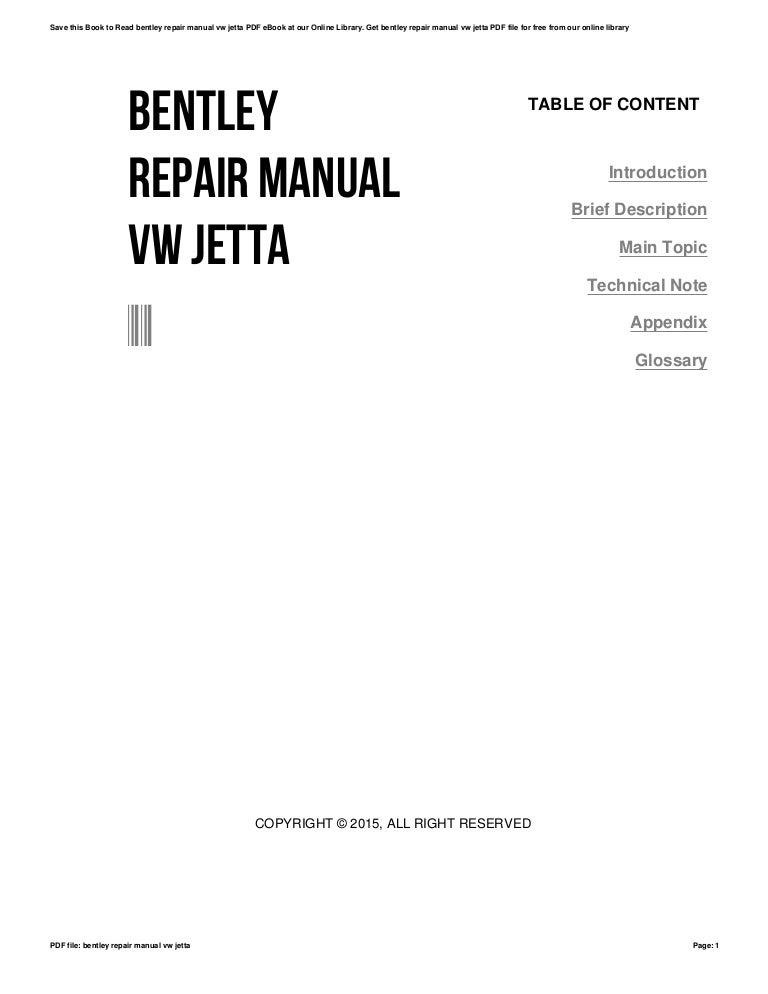 Bentley repair manual vw jetta