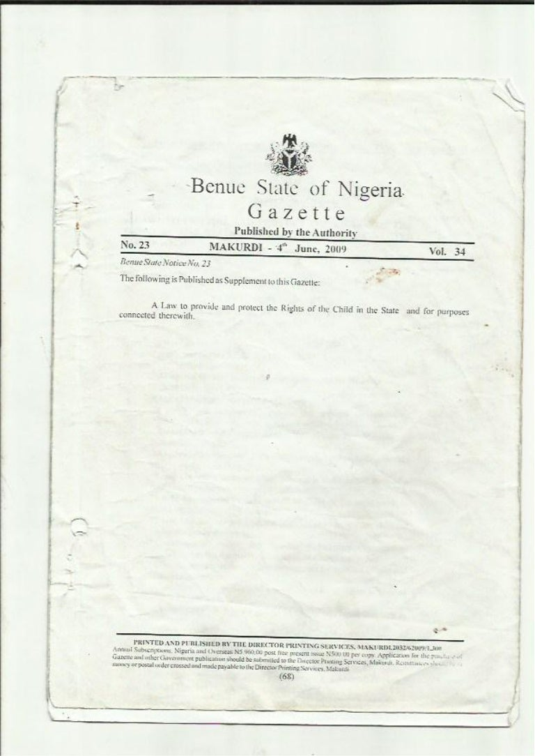 Benue State Child Rights Law 2008
