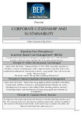 Bep presents corporate citizenship and sustainability