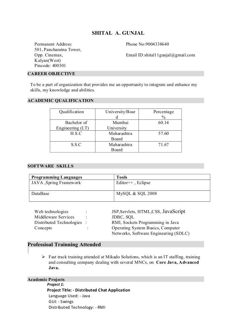 resume Java Swing Resume resumejava developer traineeb e 2015