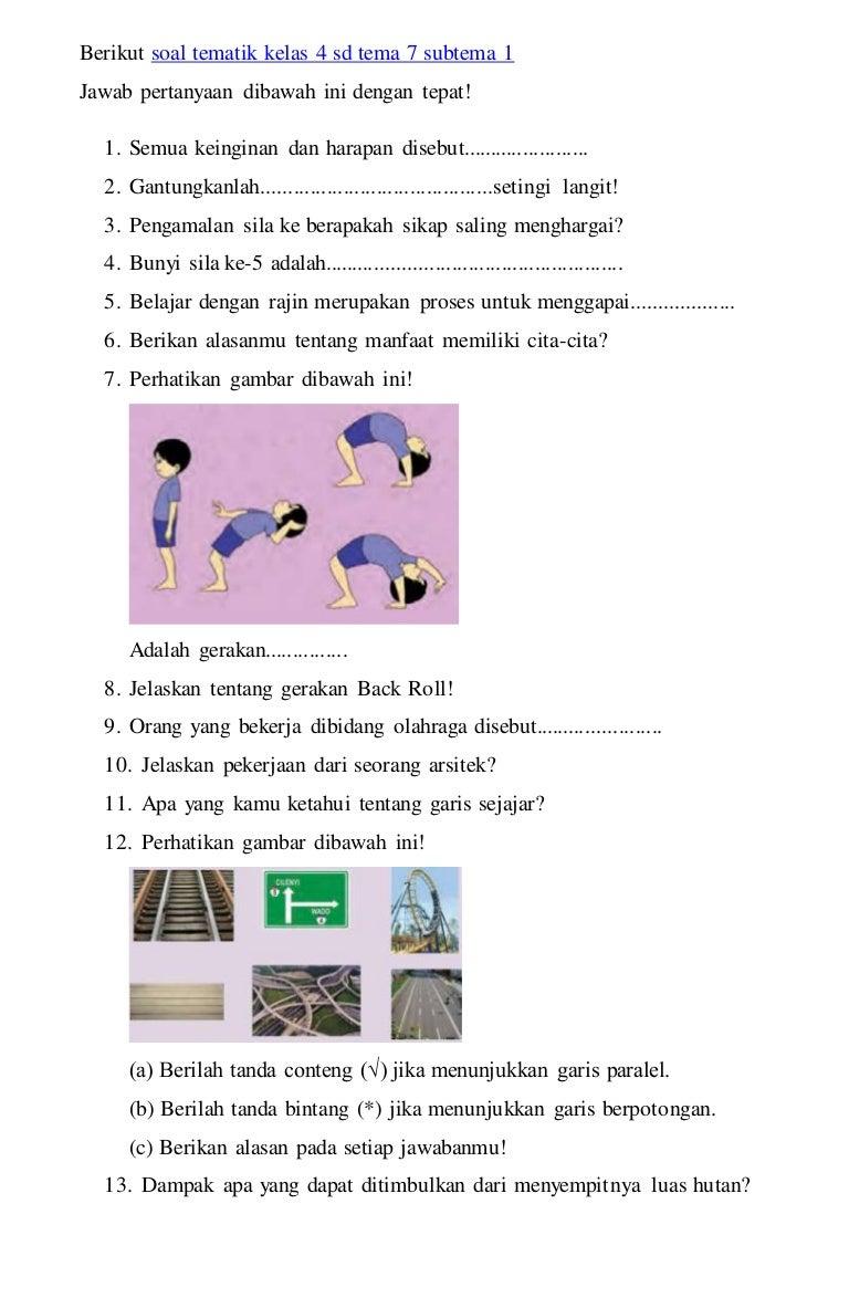 Contoh Soal Tematik Bahasa Indonesia Kelas 4 Sd - Guru ...