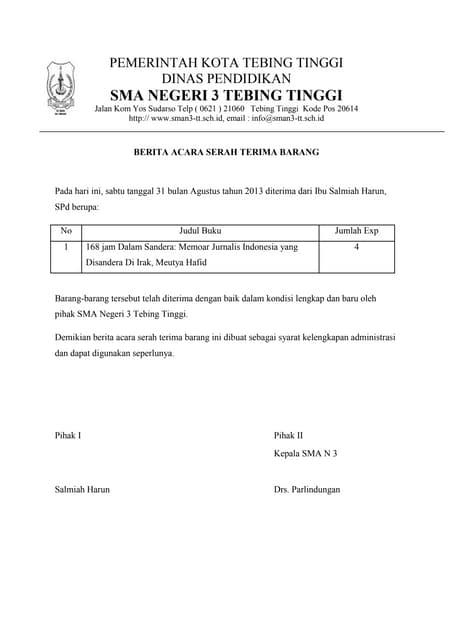 Berita Acara Serah Terima Inventaris 2008