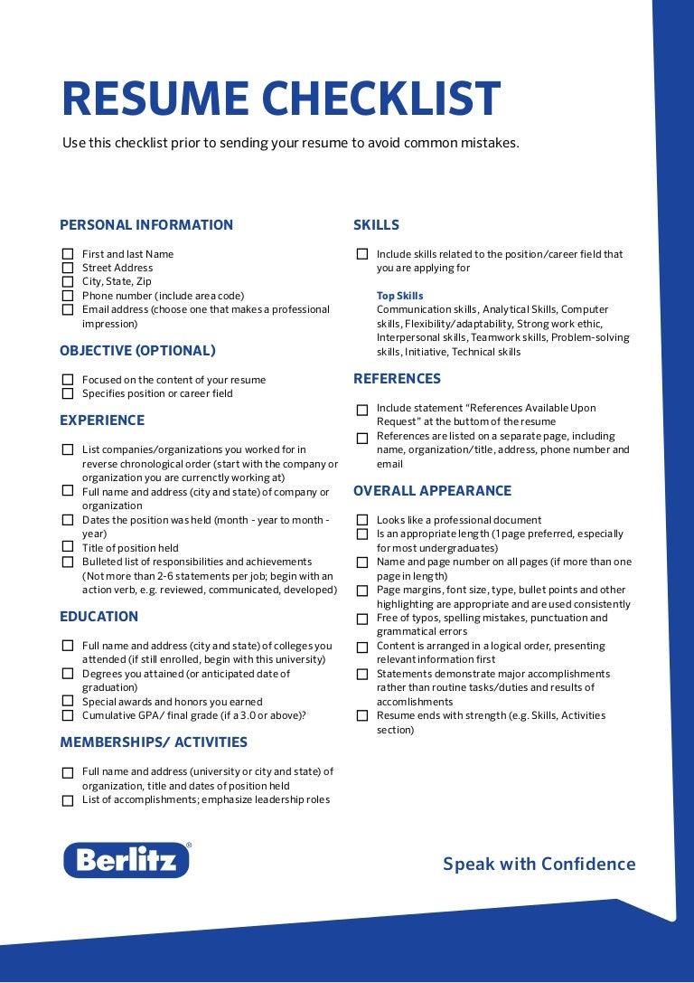 berlitz tip resume checklist