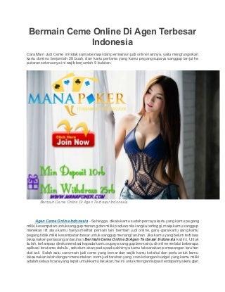 Bermain ceme online di agen terbesar indonesia