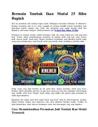 Bermain Tembak Ikan Modal 25 Ribu Rupiah - Agen BETCLUB168