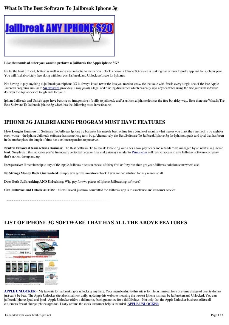 Best software-to-jailbreak-iphone3g