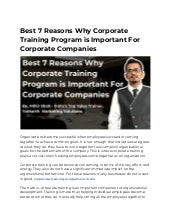 Best 7 Reasons Why Corporate Training Program is Important For Corporate Companies - YMS`s - Pune, Mumbai, Ahmedabad, India