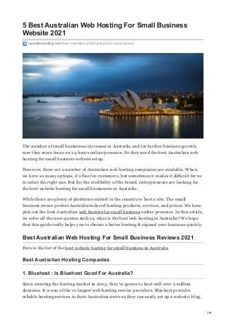 5 Best australian web hosting for small business website