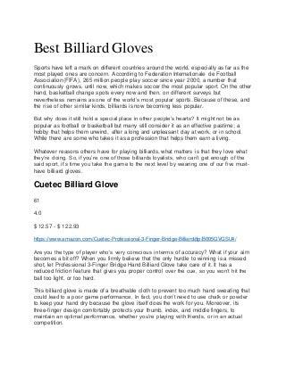 Best Billiard Gloves