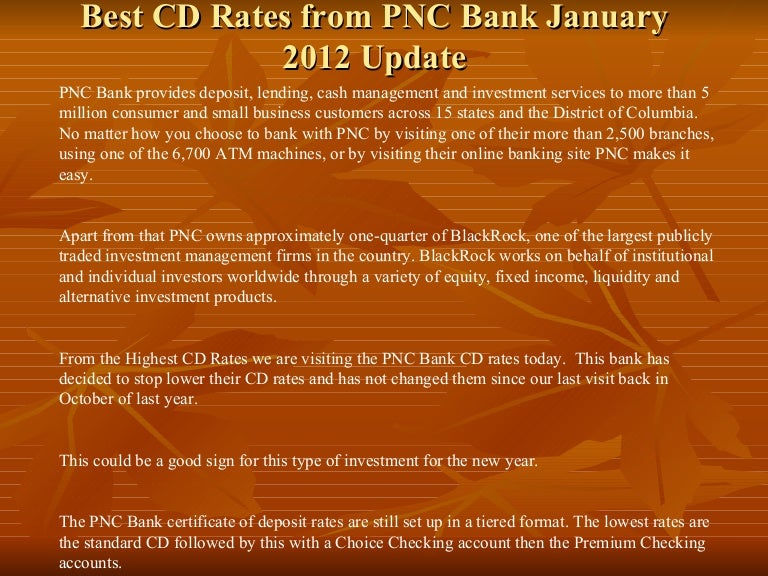 Best cd rates from pnc bank january 2012 update