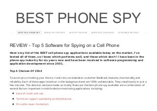 Best cell phone spy reviews