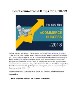 Best ecommerce seo tips for 2018