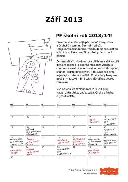 kalendar zari 2013 Marketingový kalendář, září 2013 kalendar zari 2013
